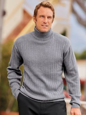 John Blair Drop Needle Marled Turtleneck Sweater