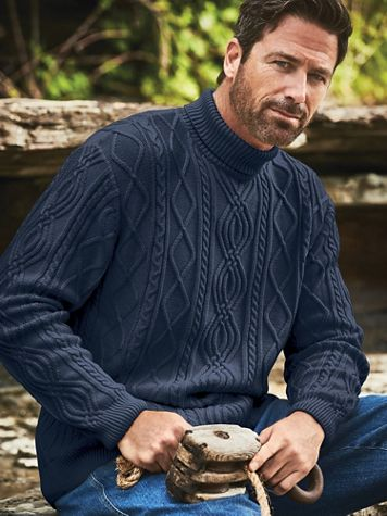 Scandia Woods Turtleneck Fisherman Cable Sweater - Image 1 of 4