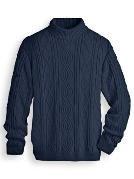 Scandia Woods Turtleneck Fisherman Cable Sweater