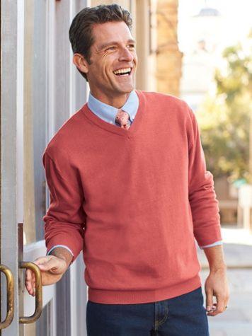 Scandia Woods Cotton V-Neck Sweater - Image 1 of 3