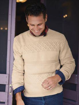 Scandia Woods Textured Knit Crewneck Sweater