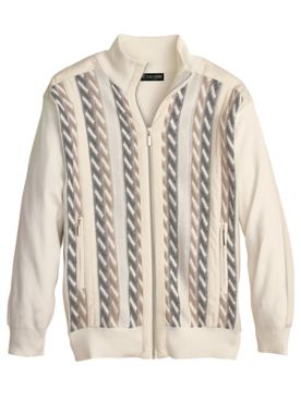 Stacy Adams Jacquard Zip-Front Cardigan Sweater