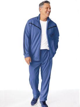 John Blair Accent-Stripe Knit Jog Suit