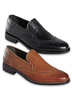 Nunn Bush® Wing Tip Leather Slip-On Shoes