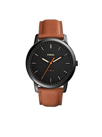 Fossil Minimalist Leather Strap Watch-Black Dial - Image 1 of 1