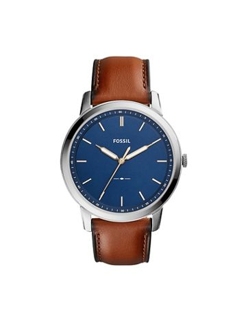 Fossil Minimalist Leather Strap Watch-Blue Dial - Image 1 of 1