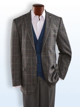 Stacy Adams® Three-Piece Plaid Suit