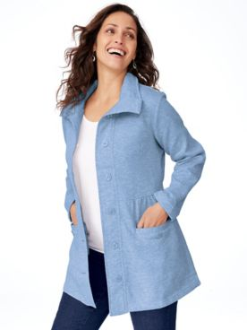 Chic Button-Front Fleece Jacket
