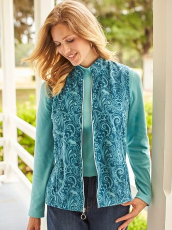 Print Scandia Fleece Zip-Front Vest - Image 1 of 5