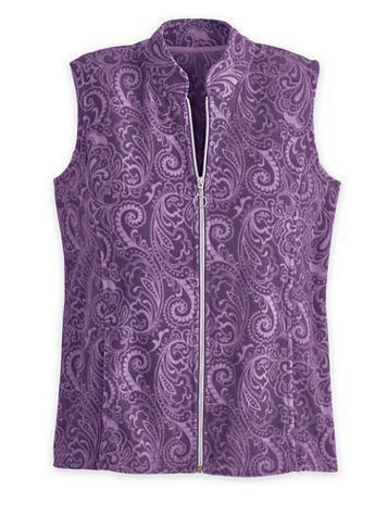 Print Scandia Fleece Zip-Front Vest - Image 1 of 5