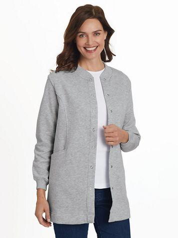 Snap-Front Long Fleece Jacket  - Image 1 of 9