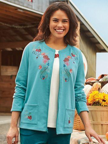 Embroidered Zip-Front Fleece Jacket - Image 2 of 2
