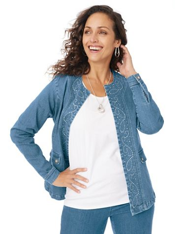 Embellished Open-Front Denim Jacket - Image 1 of 4