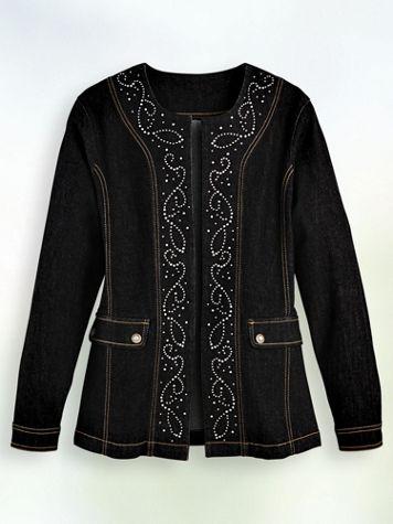 Embellished Open-Front Denim Jacket - Image 4 of 4