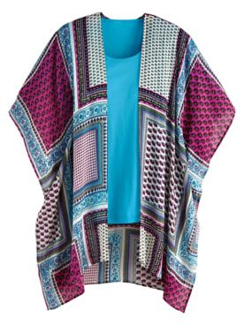 Print Open-Front Cardigan