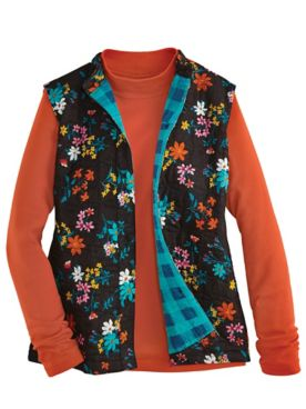 Printed Button-Front Quilted Vest