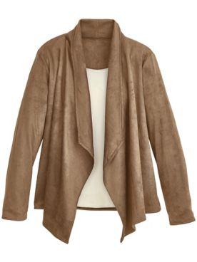 Faux Sueded Knit Jacket