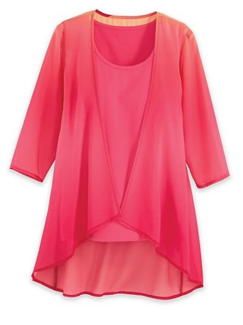 Three-Quarter Sleeve Open-Front Ombré Cardigan - Image 3 of 3