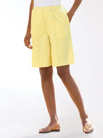 Double-Knit Stitched-Crease Shorts