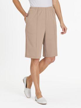 No-Iron Stitched-Crease Knit Shorts