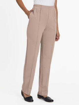 No-Iron Stitched-Crease Knit Pants