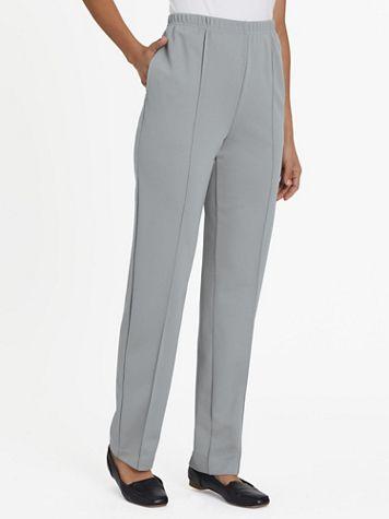 No-Iron Stitched-Crease Knit Pants - Image 1 of 12