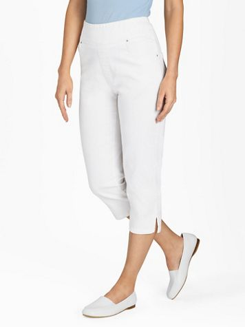 Flat-Waist Washed Denim Capris  - Image 1 of 16