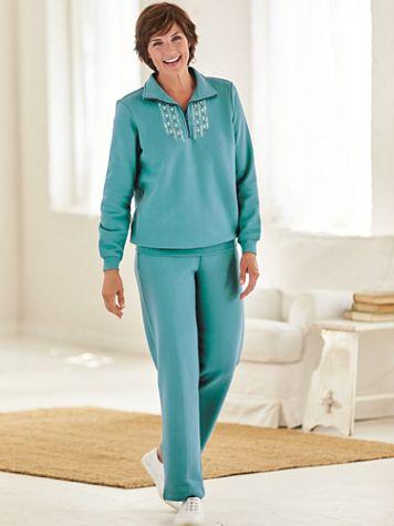 Embroidered Fleece Pants Set