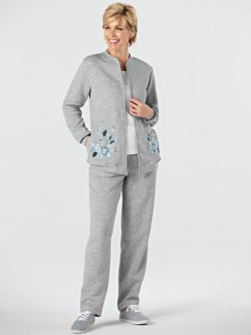 Embroidered Zip Fleece Set