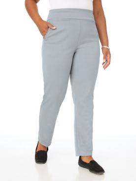Double Knit Flat-Waist Pull-On Pants