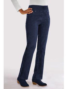 Flat-Waist Boot-Cut Jeans