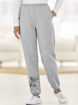 Embroidered Fleece Pants