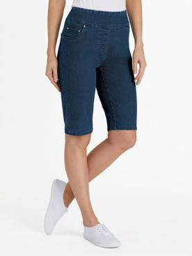 Flat Waist Denim Bermuda Shorts