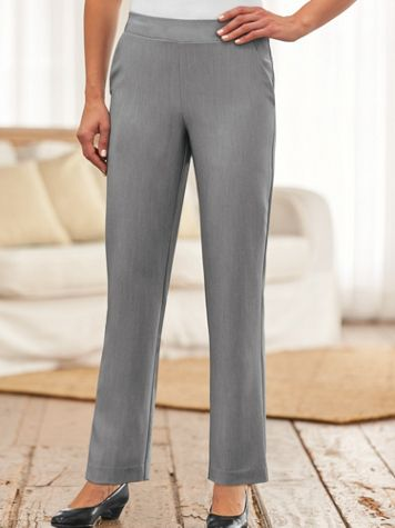 Silhouette Slimmers® Flat-Waist Stretch Pants - Image 1 of 1