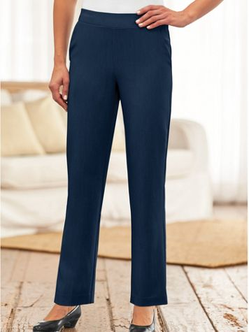 Silhouette Slimmers® Flat-Waist Stretch Pants - Image 0 of 1