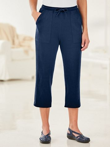 Essential Knit Drawstring Pull-On Capris - Image 1 of 2