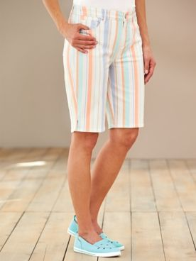 Gloria Vanderbilt® Bermuda Stripe Denim Shorts