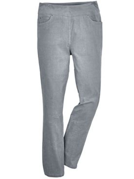 Flat-Waist Stretch Corduroy Pants