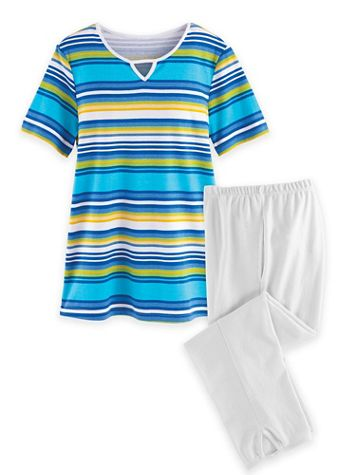 Print Knit Capri Set - Image 1 of 3