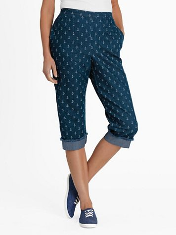 Alfred Dunner Anchor-Print Capris - Image 1 of 2