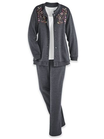 Button-Front Embroidered Fleece Set - Image 1 of 5