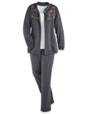 Button-Front Embroidered Fleece Set
