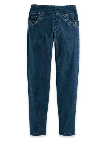 DenimEase™ Flat-Waist Straight-Leg Embellished Jeans - Image 1 of 4