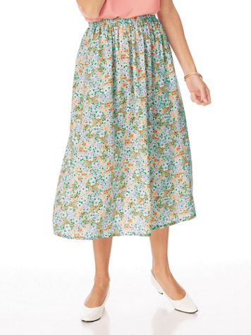 Elisabeth Williams® Print Challis Skirt - Image 1 of 5