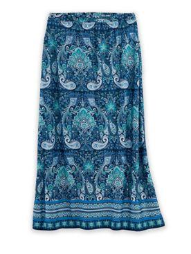Paisley-Printed Midi Skirt