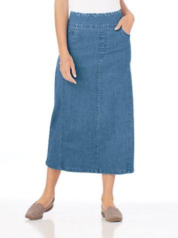 DenimEase™ Flat-Waist Midi Skirt - Image 1 of 5