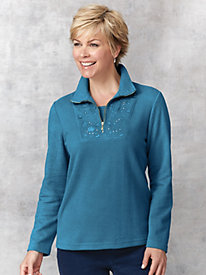Brushed Quarter-Zip Layered Look Top