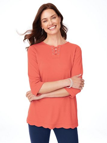 Essential Knit Scalloped-Hem Tunic  - Image 1 of 11