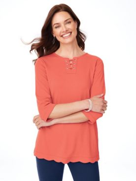 Essential Knit Scalloped-Hem Tunic