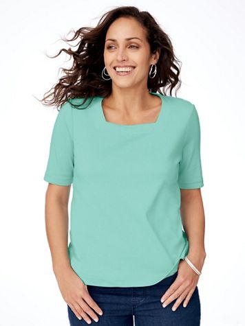 Essential Knit Elbow-Sleeve Square-Neck Tee - Image 1 of 8